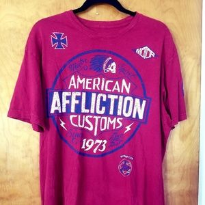 Affliction t shirt Red size Large